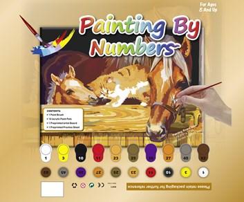 Malování podle čísel s koněm a kočkou