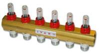 """IVAR - rozdělovač s regulačním šroubením a průtokoměrem IVAR.CI 553 VP -4- 5/4""""xEK"""