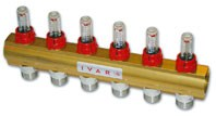 """IVAR - rozdělovač s regulačním šroubením a průtokoměrem IVAR.CI 553 VP -3- 5/4""""xEK"""