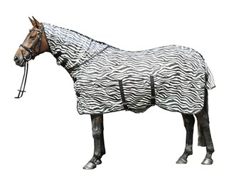 Síťová deka HKM zebra s krkem a laclem pod břicho.