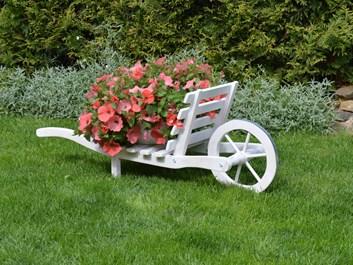 Trakař na květiny s bílou patinou
