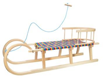 Dřevěné dětské sáňky s průpletem a ohrádkou