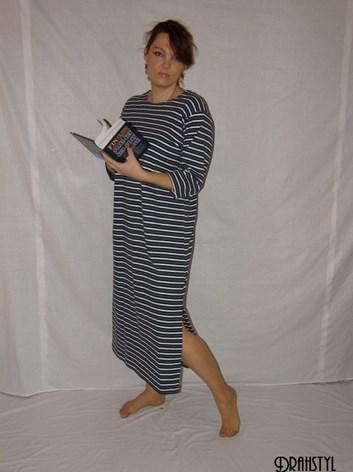 Domácí šaty Karla M,L,XL,XXL,XXXL pruhované