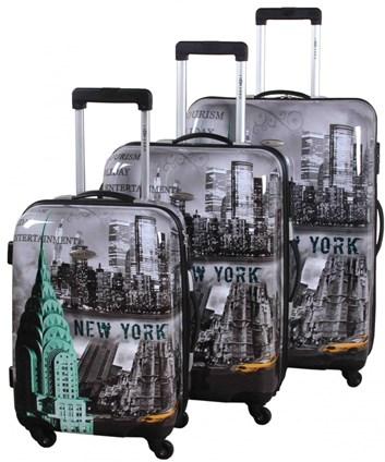 Sada cestovních kufrů ABS s potiskem NEW YORK