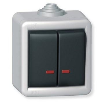 Sériový vypínač kovový s orient. osvětl. na povrch 10AX 250V~ IP55