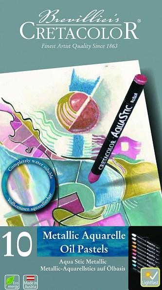 Olejové pastely Aqua Stic, metalické odstíny, 10 ks