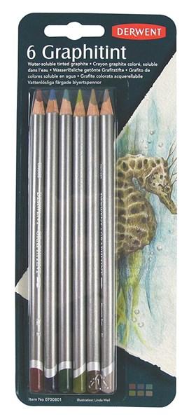 Graphitint, sada barevných grafitových tužek, 6 ks, Derwent